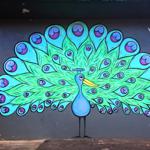 ハレイワにある孔雀のウォールアート